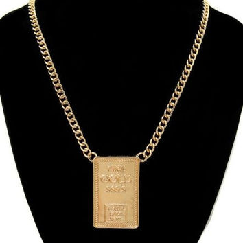"Gold ""FINE GOLD"" Pretty Girls Bank Statement Necklace BAR SHAPE Link Chain"