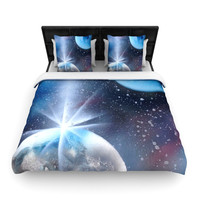 "Infinite Spray Art ""Intergalactic"" Blue Painting Woven Duvet Cover"