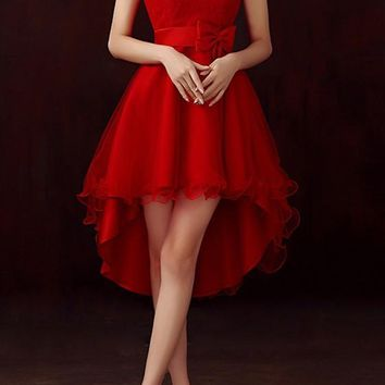 Casual Red Patchwork Irregular Grenadine Bow Tie Back High-low Bridemaid Prom Mini Dress