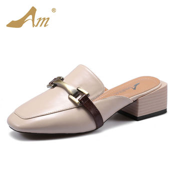 Ame 2017 summer new women's slippers flats low medium heels comfortable loafers mules brand brand shoes for women retro style