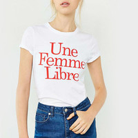 White Front Red Letter T-Shirt