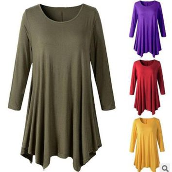 Long Sleeve Swing Tunic Top Shirt