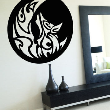 Vinyl Wall Decal Sticker Moon and Wolf Design #OS_AA1724