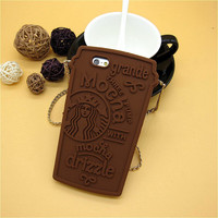 Fashion 3D Cartoon Starbuck Coffee Rubber Soft Cute Back Cover for Apple iPhone 6 6s 4.7'' Funny Silicone Phone Case Shell free shipping=CA224