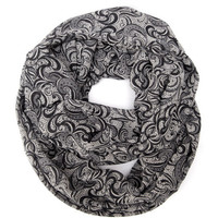 Grey and Black Womens Double Loop Tube Scarf Lightweight Business Fashion Scarves Womens Teen Accessories