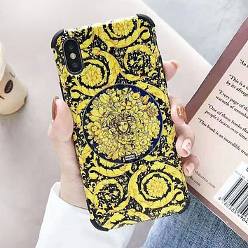 Versace Fashion New Human Head Print Women Men Protective Cover Phone Case