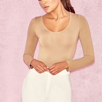 Clothing : Bodysuits : 'Rosella' Tan Seamless Knit Scoop Neck Stretch Bodysuit
