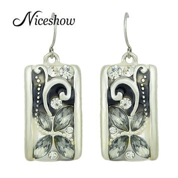Vintage Brincos Party Earrings Antique Silver Rhinestone Flower Geometric Drop Earrings For Women 2016 Bijoux Jewelry from india