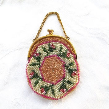 Antique Coin Purse, Beaded Change Purse, Made in Germany, Beaded Bag, Vintage Coin Holder
