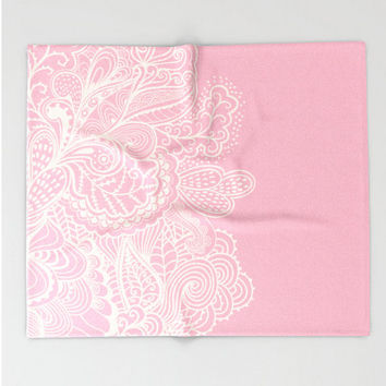 Throw Blanket Dusty Pink Rose Mehndi Design Off White Light Pink Baby Girl Soft Coral and Sherpa Fleece