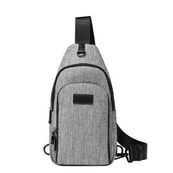 Brief Zipper Design Chest Bag High Quality Canvas Men's Chest Pack Casual Korean Style Should Cross Body Bags For Man