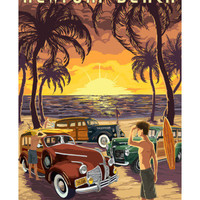 Newport Beach, California - Woodies and Sunset Posters by Lantern Press at AllPosters.com
