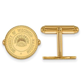 NCAA 14k Gold Plated Silver University of Wisconsin Crest Cuff Links