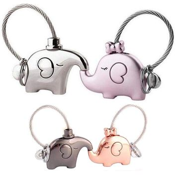 Stainless steel elephant key chain bear, whale, pig lover's key chains