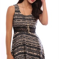 Tribal Print Skater Dress with Illusion Lace Waist