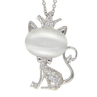 Dear Deer White Gold Plated Cubic Zirconia Moonstone Cat with Crown Pendant Necklace