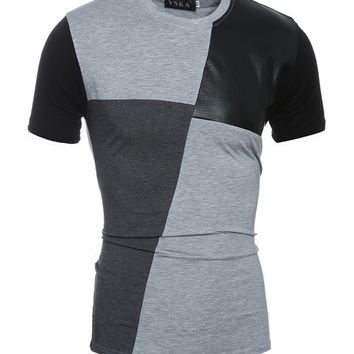 Streetstyle  Casual Leather Patchwork Men's Short Sleeve T-Shirt