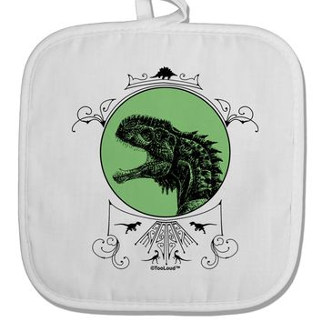 Jurassic Dinosaur Face White Fabric Pot Holder Hot Pad by TooLoud