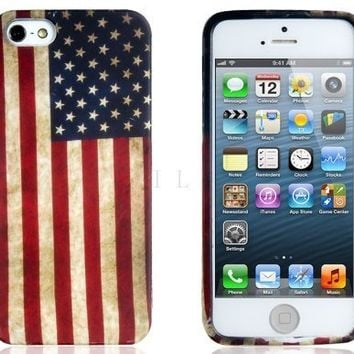 Brightdeal American Flag Print Protective Case for iPhone 5 5S