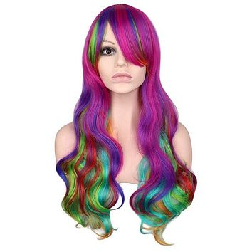Rainbow Colorful Long Curly  Cosplay Party Wig 70Cm - High Temperature Synthetic Hair Wigs