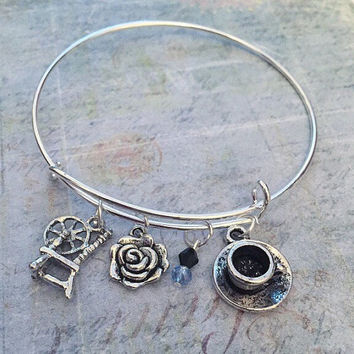 Rumbelle Bangle Bracelet FITS WRIST SIZE 6.5 to 8.0 inches a Fairytale Jewelry - Once Upon A Time Jewelry - Ouat Jewelry - Fandom Jewelry