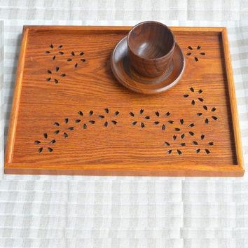 1PCS Chinese-style Brown Square Wooden Plate Tray Solid Wood Pallets With Handle Custom Hotel Pratos Big Size Bandeja