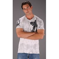 Affliction Spiker Wings Cross Mens Tee White