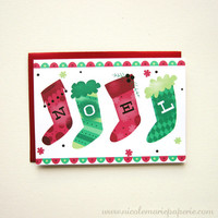 Noel Christmas Card. Red Green Christmas Stocking. Colorful Holiday Card. Illustrated Greeting Card Note Card Stationery Card