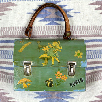 Vintage 60s - OOAK - Green Girls Doe Deer Skunk Mushroom Floral Decoupage - Lunch Pail lunchbox Purse - Leather Handle - Robin