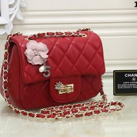 """Chanel"" Women Personality Fashion Flowers Quilted Mini Metal Chain Single Shoulder Messenger Bag"