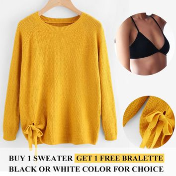 Women Sweaters Autumn Winter Pullovers Preppy Style Long Sleeve Side Bows Casual Crop Sweater Slim Solid Knitted Jumpers Sweter
