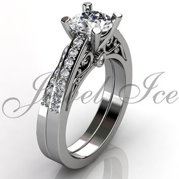 Engagement Ring Set - Platinum Diamond Unique Art Deco Filigree Scroll Wedding Band Engagement Ring Set Bridal Set ER-1122