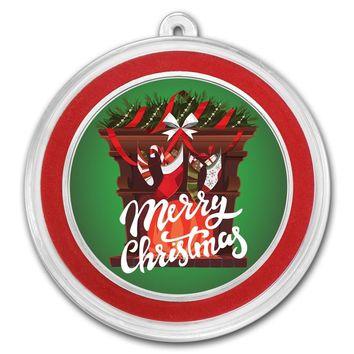 1 oz Silver Round - Merry Christmas (Fireplace)