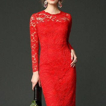 Red Crochet lace Long Sleeve Midi Dress