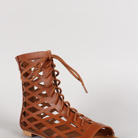 Qupid Cutout Lace Up Gladiator Flat Sandal