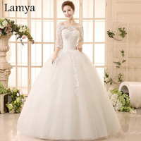 Princess Beatiful Lace Wedding Dress With Sleeve Fashionable Cheap Plus Size Bridal Gowns Dresses vestido de noiva WD2751