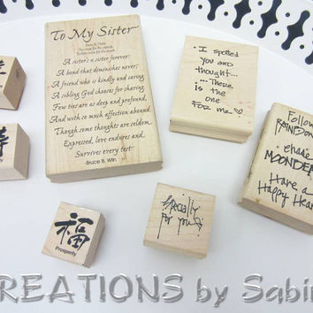 Rubber Stamps Mixed Lot of 7, Wooden Blocks, Sister Words For You Kanji Chinese Symbols Love Sentiments PrintWorks