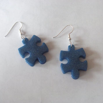 Autism Awareness Puzzle Piece Resin Dangle French Hook Earrings, Autism Jewelry, Light It Up Blue