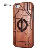 eimolife Unique Handmade Natural Wood Wooden Hard bamboo Case Cover for iPhone 5 with free screen protector(Sapele-London Underground)