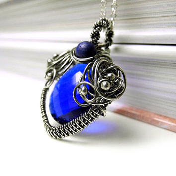 Blue Quartz Necklace - Lapis lazuli Necklace - Silver Wire Wrapped - Cobalt Heart Stone - Fantasy Fairytale - Royal Blue - Romantic Necklace