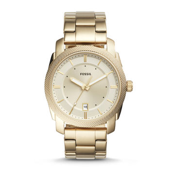 Machine Three-Hand Date Gold-Tone Stainless Steel Watch