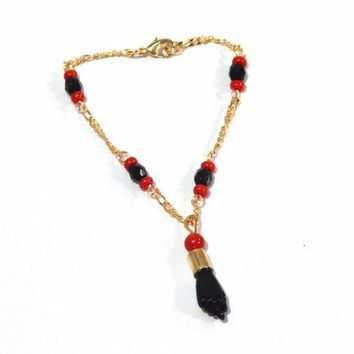 "1-0805-f1 18kt Gold Layered Azabache Bracelet for Kids with Black Figa Fist. 5.5"" length, 3.5mm beads, 2mm links, 1"" hand,"