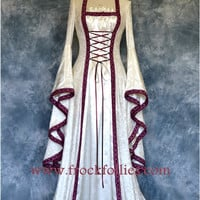 "Renaissance Gown, Medieval Wedding Dress, Handfasting Dress, Elvish Gown, Pagan, Pre-Raphaelite Dress, ""Mara"""