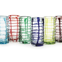 WOVEN GLASSES | Barware, Drinking Cups, Recycled Glass, Mexico, Kitchen, Colorful, Red, Purple, Green, Blue | UncommonGoods