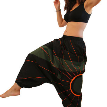 Harem Pants with a Sun - Aladdin Trousers - Afghani Pants - Alibaba Pants - Men - Women - Cotton