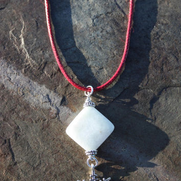Amazonite Snowflake Pendant on Red Leatherette Cord for Peace, Hope, and Positive Affirmations