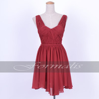 A Line Straps V Neck Mini Short Chiffon Wine Red Prom Dresses, Formal Gown, Evening Dresses, Wedding Party Dresses, Homecoming Dresses