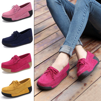 Spring/Summer Women Shoes High Heel 2016 New Suede Leather Shoe Fashion Tassel Women Loafers Slip on wedges Women's Shoes