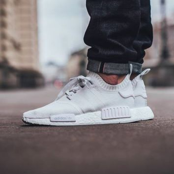 Adidas NMD R1 3M Reflective shoelace Fashion Trending Running Sports Shoes NMD RUNNER PK Color ALL White