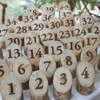 Log Table Numbers, for your Rustic Wedding, Spring Wedding, Summer Wedding, from Naturally Aspen